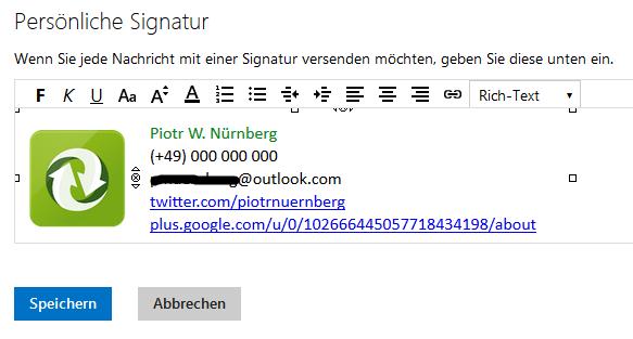 Signatur als Rich Text