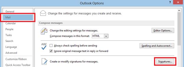 Outlook-Optionen