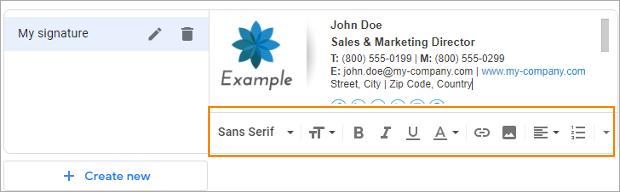 Gmail-Signatur: Formatierungsoptionen