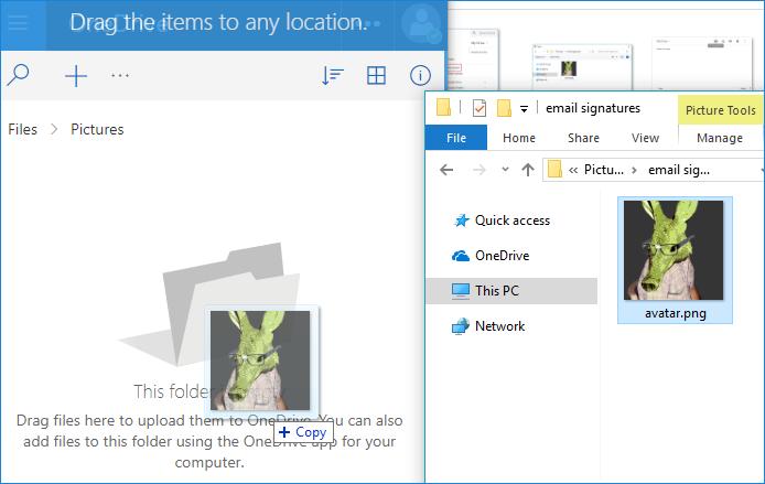 Direkter Linkbild bei OneDrive