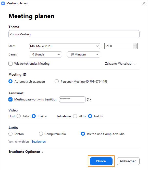 Zoom: Meeting planen