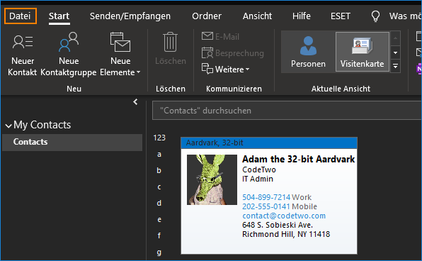 Wie erstelle ich eine vCard in Outlook?