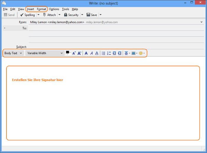E-Mail-Signatur in Thunderbird: neuer E-Mail-Fenster