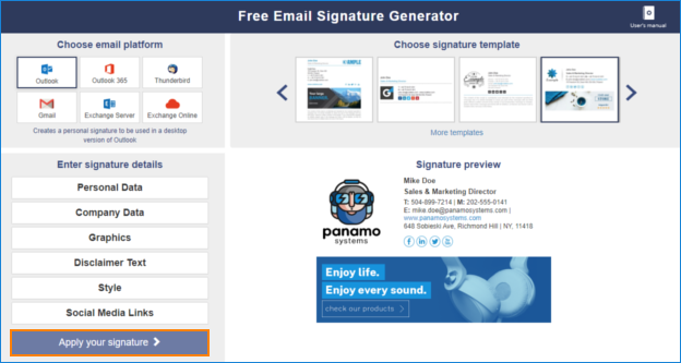 Kostenloser Generator für iOS-E-Mail-Signaturen