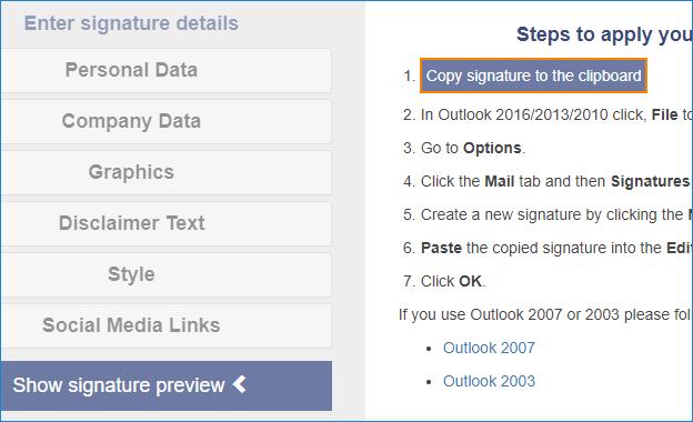 Signatur in die Zwischenablage kopieren