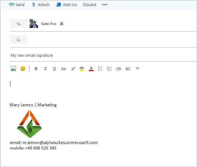 Neue E-Mail mit Signatur