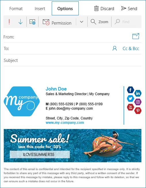 Neue Signatur in Windows Mail 10