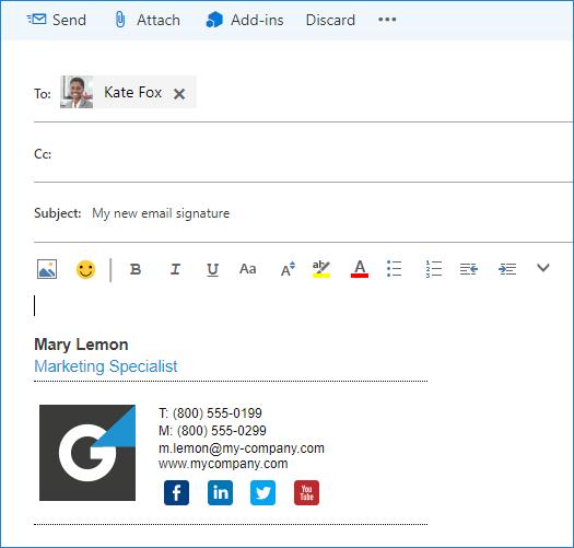 Outlook im Web für Exchange 2016: Neue E-Mail-Signatur erstellen