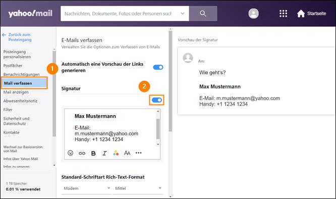 Yahoo Mail: E-Mail mit Signatur