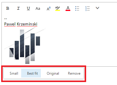 OWA email signature editor