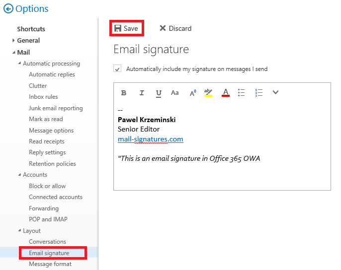 Office 365 OWA email signature editor