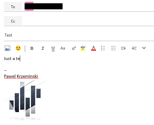 A signature with an image in Office 365 OWA
