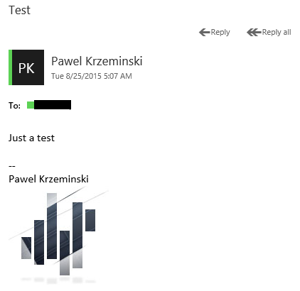 A signature with image in email sent from Office 365 OWA