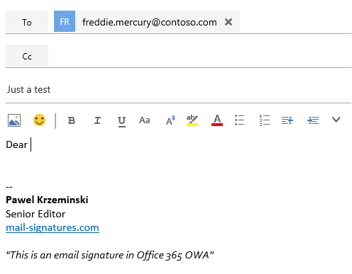 A signature automatically attached to a new email