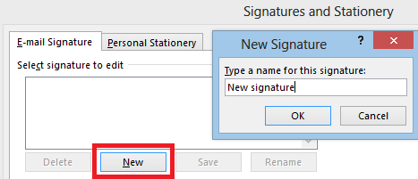 Creating a new signature – first step