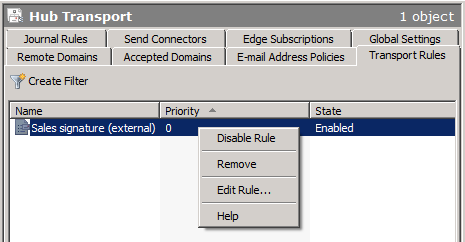 Exchange 2010 transport rule options