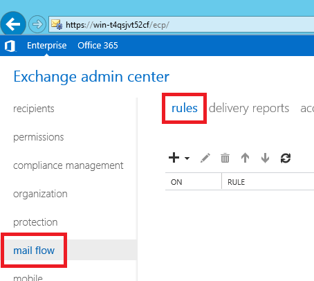 Exchange 2013 transport rules' editor