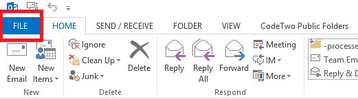 File button in Outlook 2013