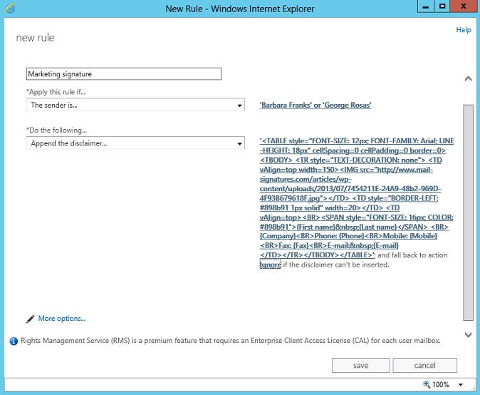 An automatic disclaimer set up for two Exchange 2013 users