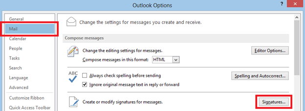 Outlook Options – Signature button in the Mail tab