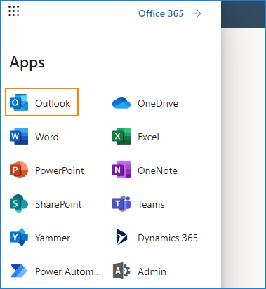 Mail option in the Office 365 top menu