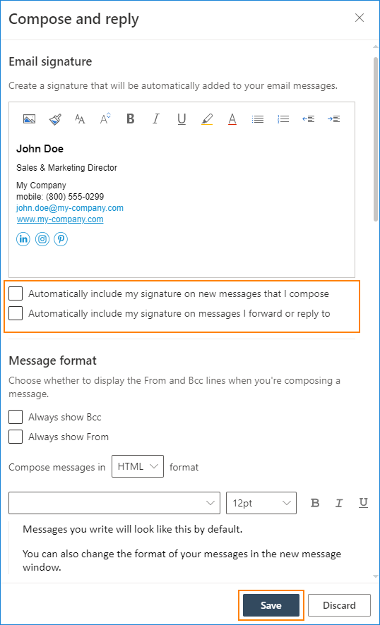 Outlook on the web email signature editor 2