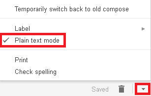 Plain text mode and the More options arrow in the Gmail message composer