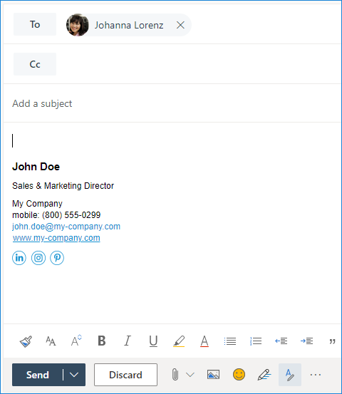 Sample email signature in Microsoft 365 Outlook on the web