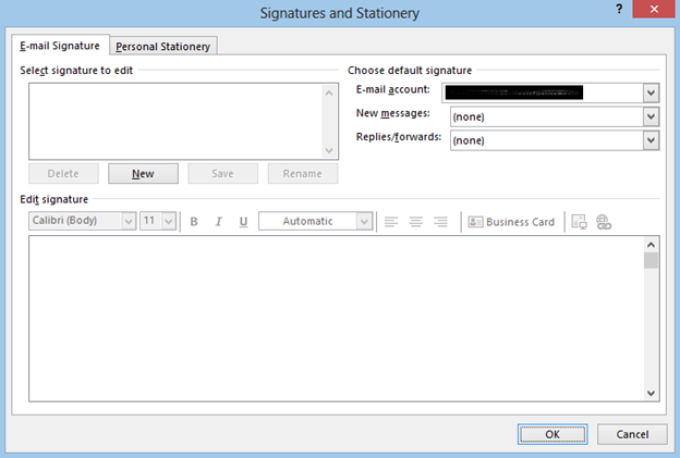Outlook 2013 - Signatures and Stationery menu