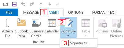 Accessing the Signatures and Stationery menu via the new message editor