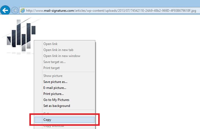 Copying an image using Internet Explorer