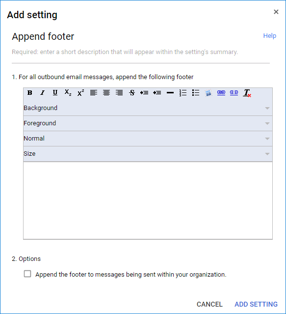 Google Workspace Append footer settings