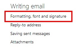 Formatting, font and signature option in Outlook.com settings panel