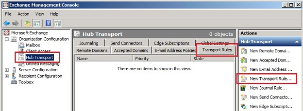 Creating a new transport rule on Exchange 2007