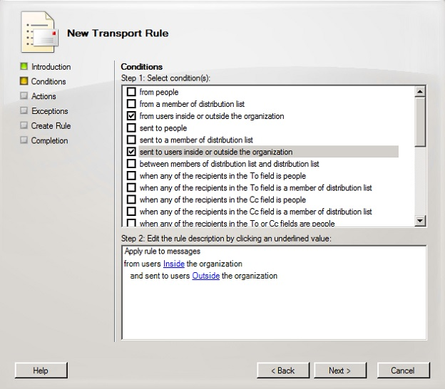 Specifying new transport rule conditions
