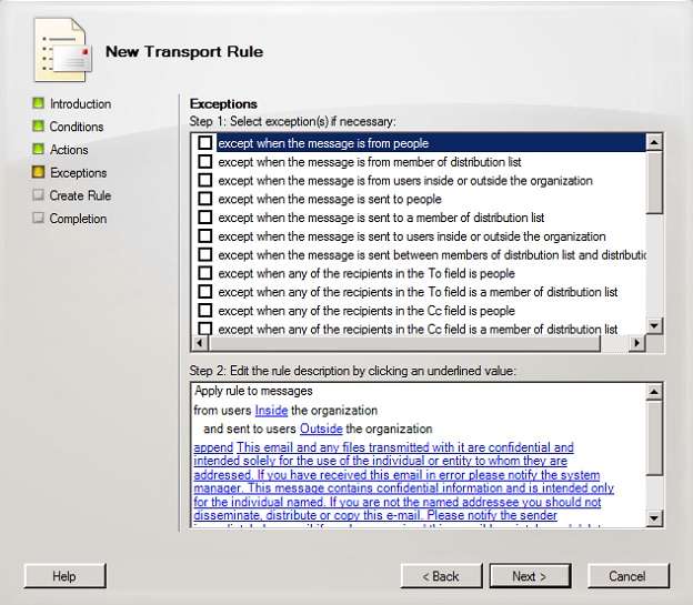 Defining exceptions in a new Exchange 2007 transport rule