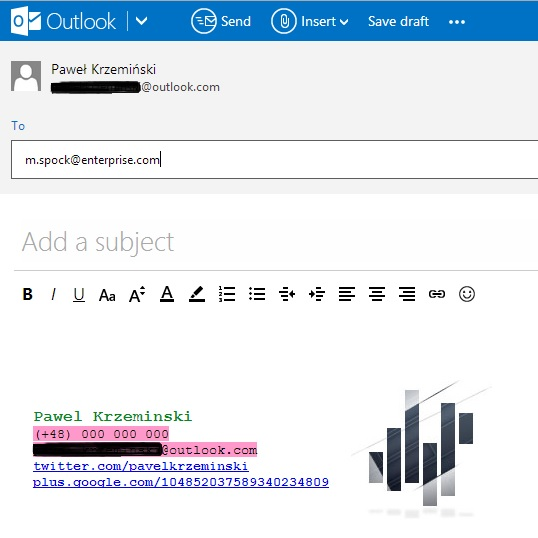 A signature in a new Outlook.com email