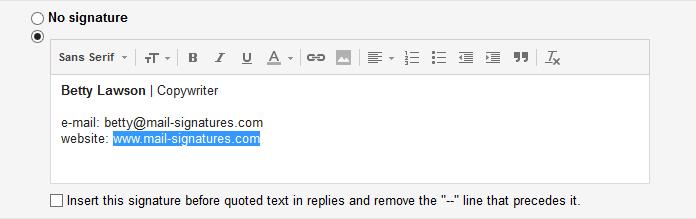 Gmail signature editor