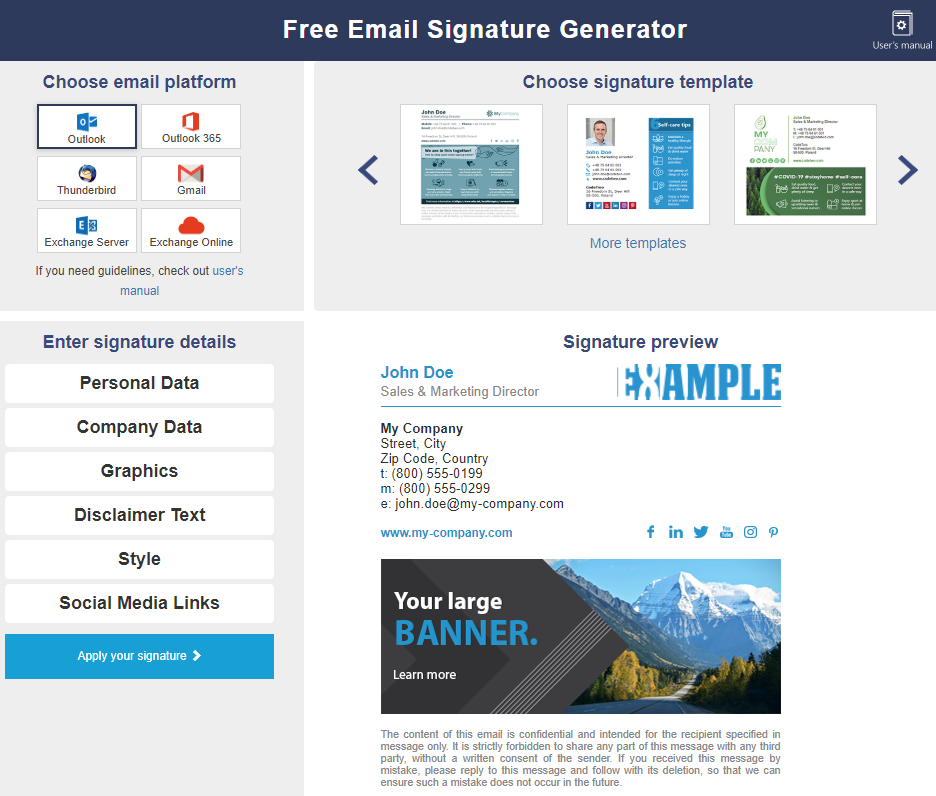 Free email signature generator - pick template with banner