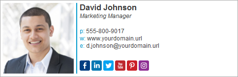 Email signature block with social media buttons