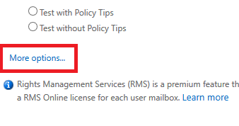 Exchange admin center: New mail flow rule, More options
