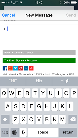 iPhone: Test of the new HTML email signature