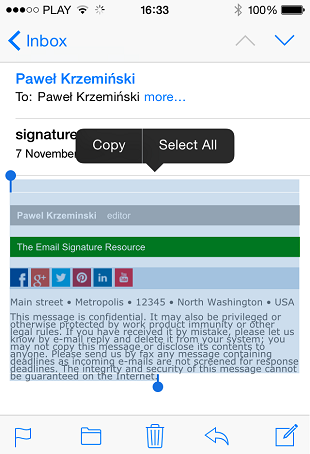The email with the HTML email signature selected