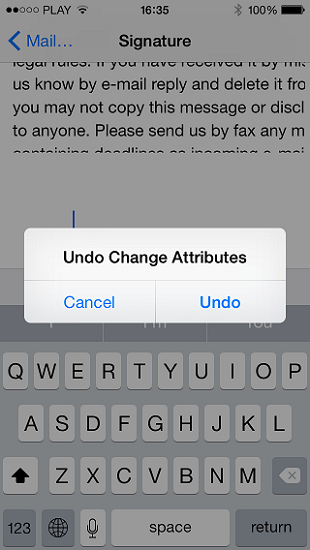iPhone: Undo Change Attributes context menu