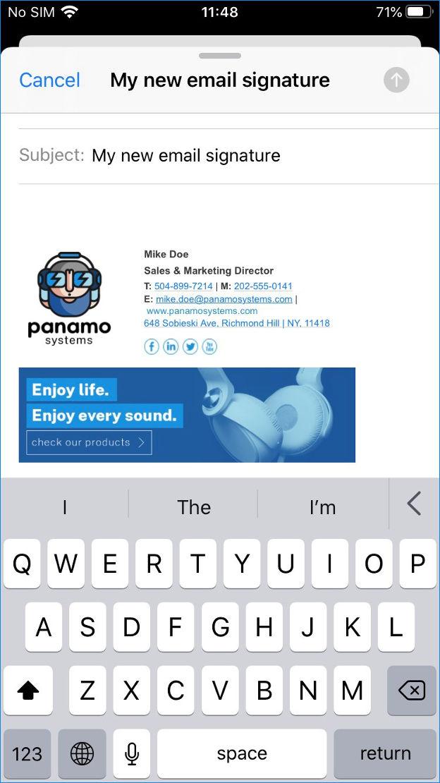 iOS email signature