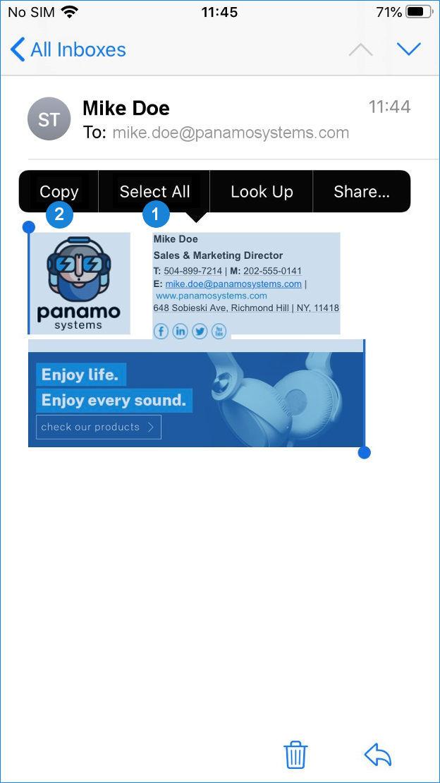 iOS mail app - copy signature numbered