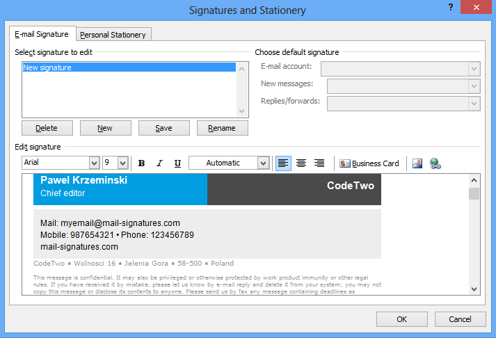 Html email signature setup in outlook 2007 go back to outlooks signatures and stationery menu and replace the first name last name etc placeholders with your personal details and click save maxwellsz
