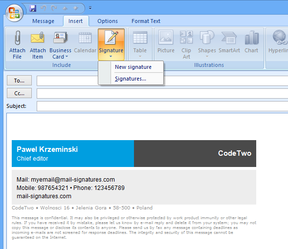 Outlook 2007: Testing an email signature