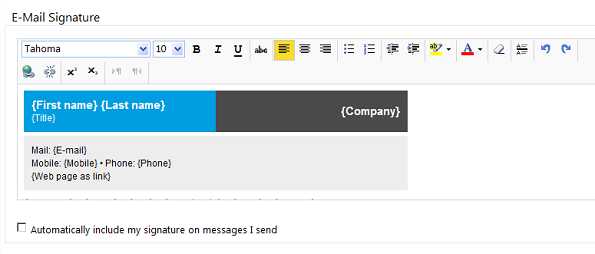 OWA 2010: An email signature based on tables with backgrounds