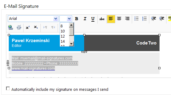 OWA 2010: Editing an email signature